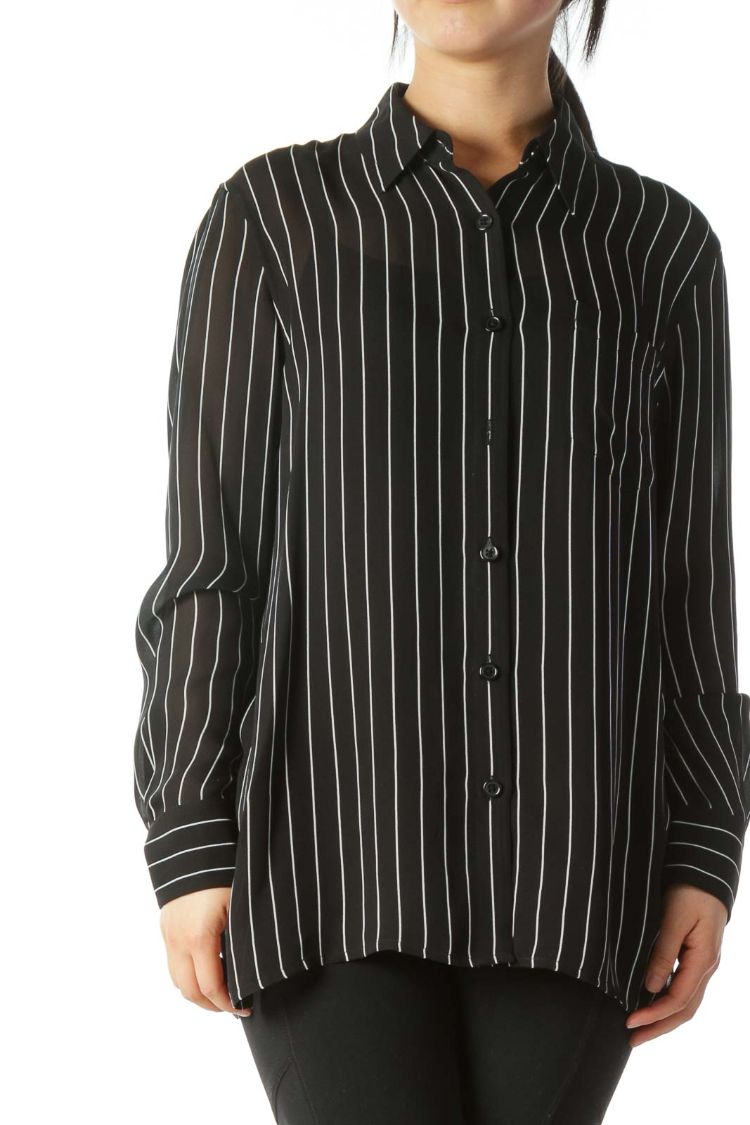 Black White Pinstripe 100% Silk Pocketed Shirt