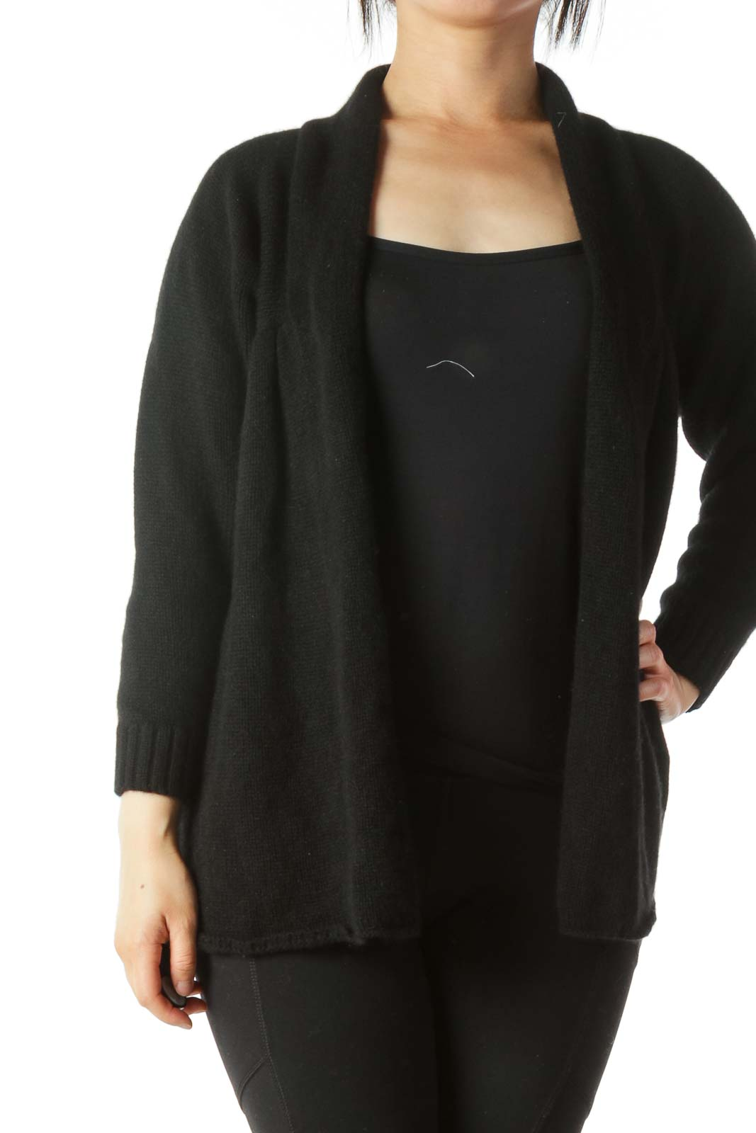 Black 100% Cashmere Soft Long Sleeve Cardigan