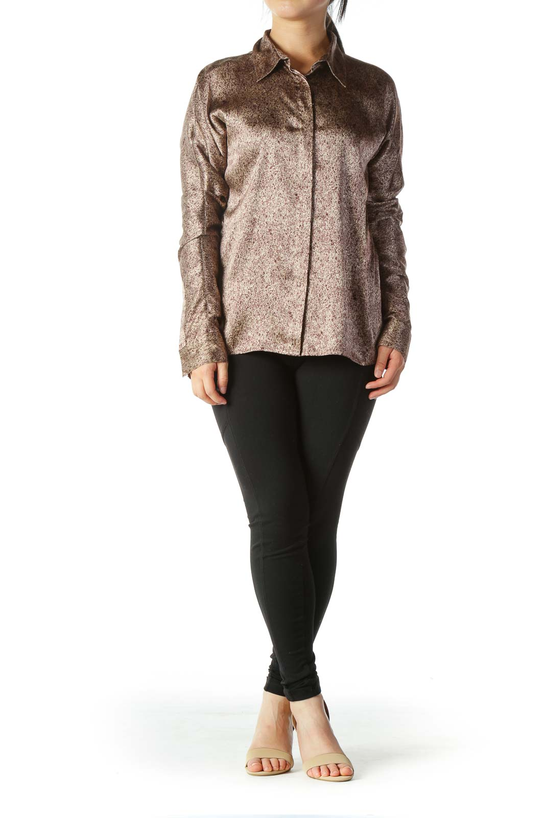 Brown Print Silk Shiny Soft Long Sleeve Stretch Shirt