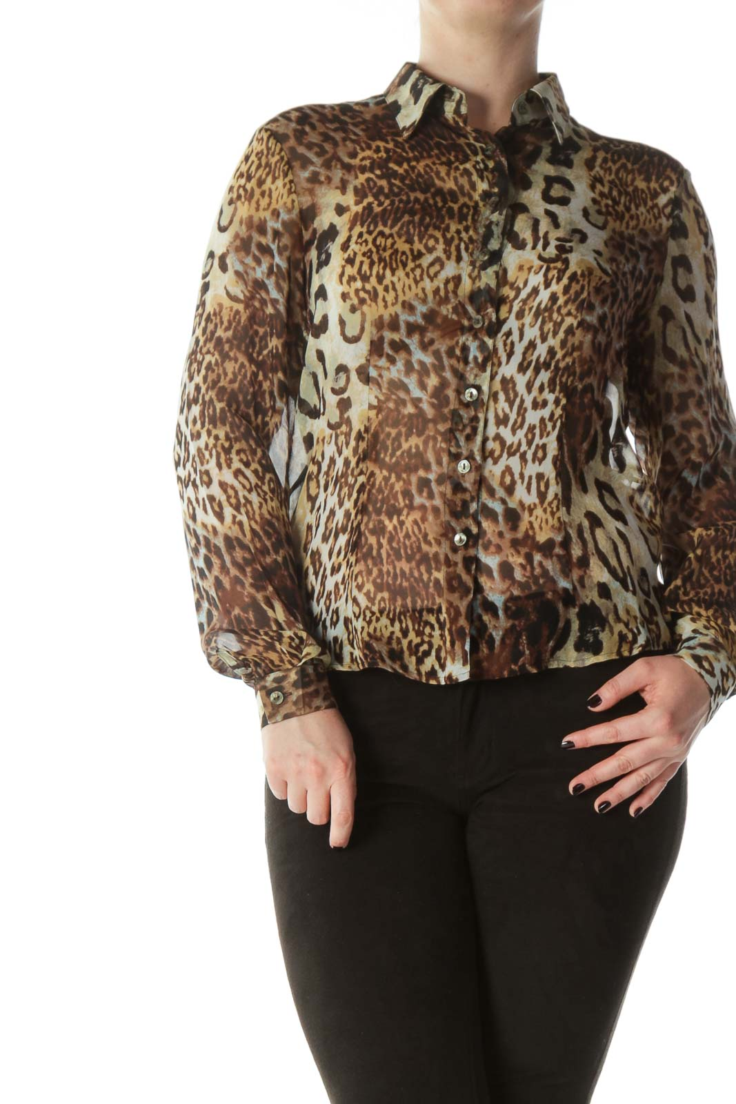 Brown Leopard Print 100% Silk See-Through Shirt
