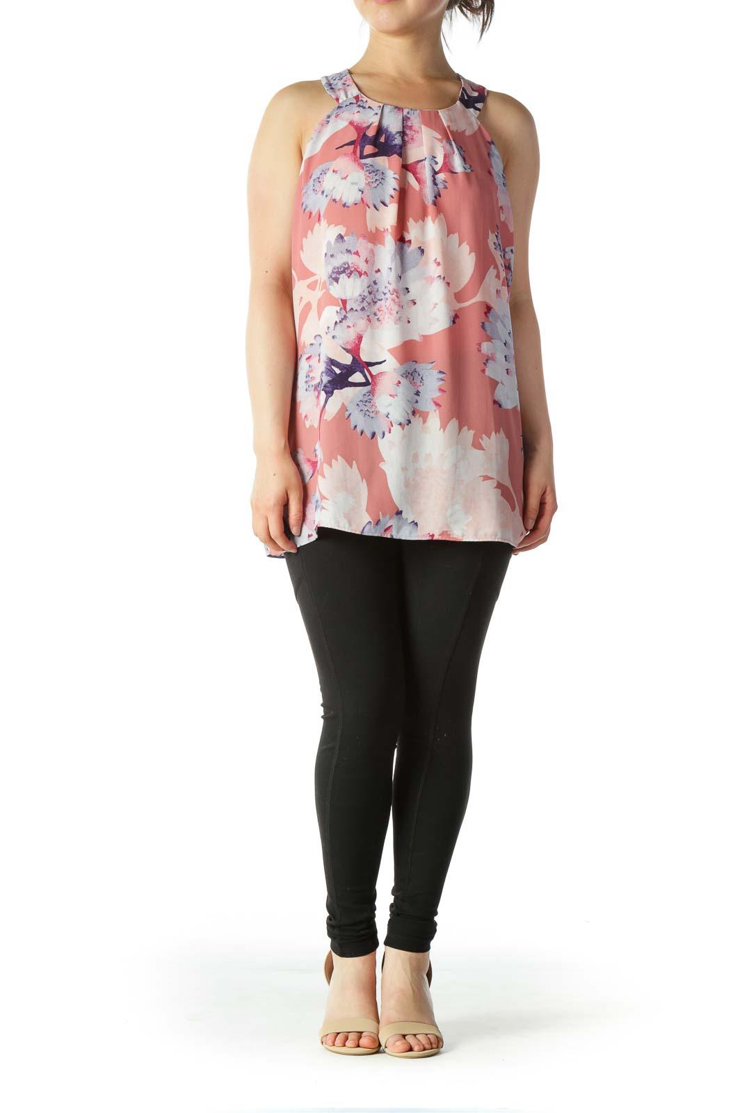 Multi-color Floral Print Pleated Neckline Blouse