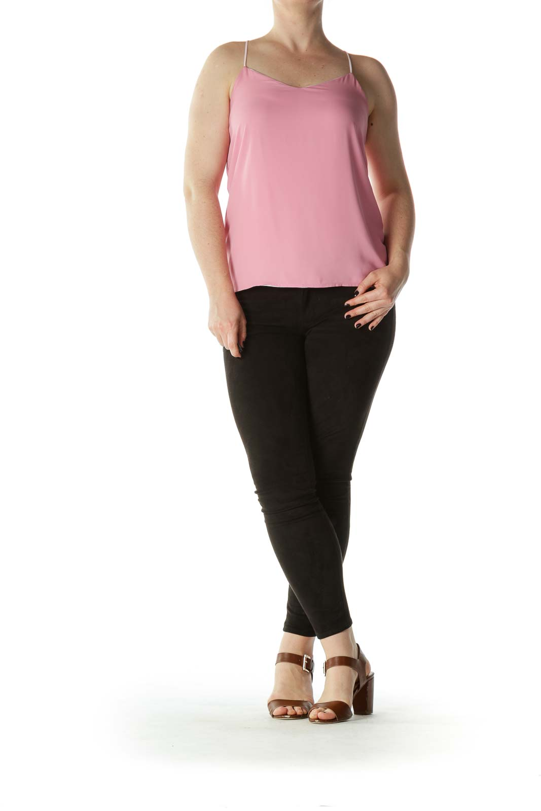 Two-Tone-Pink High-Low Flared Top
