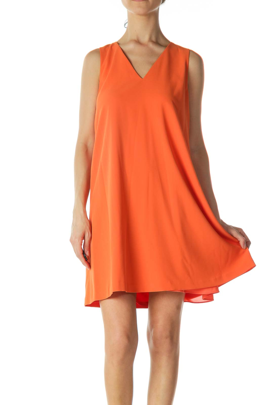 Orange V-Neck Tent Dress