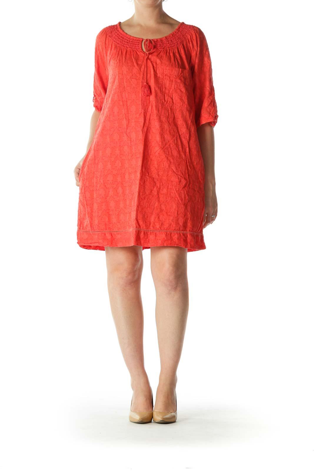 Coral-Orange 100% Cotton Pocketed Textured Dress