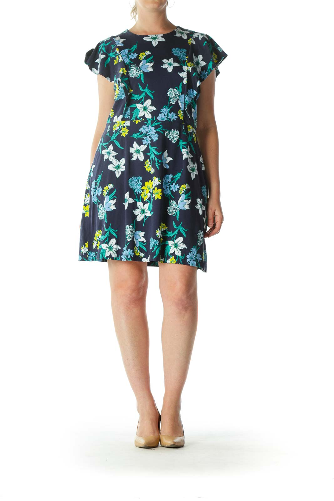 Blue Yellow White 100% Pima Cotton Floral-Print Dress