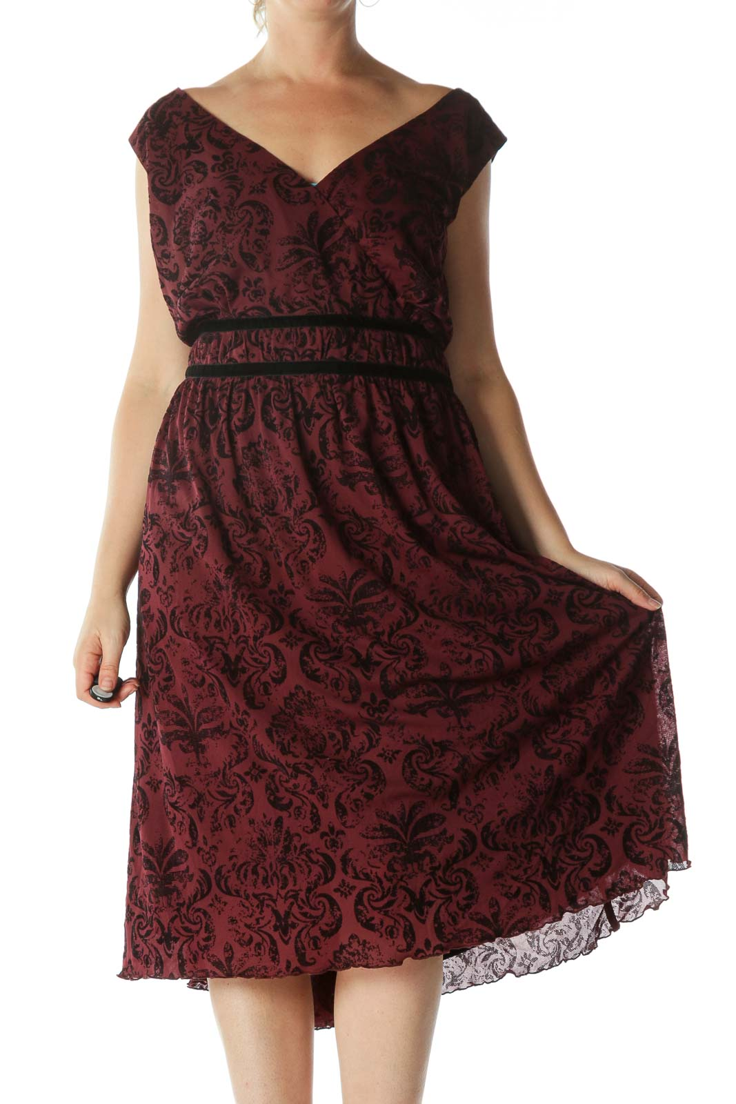 Burgundy Black Jacquard Surplice-Neckline Cocktail Dress