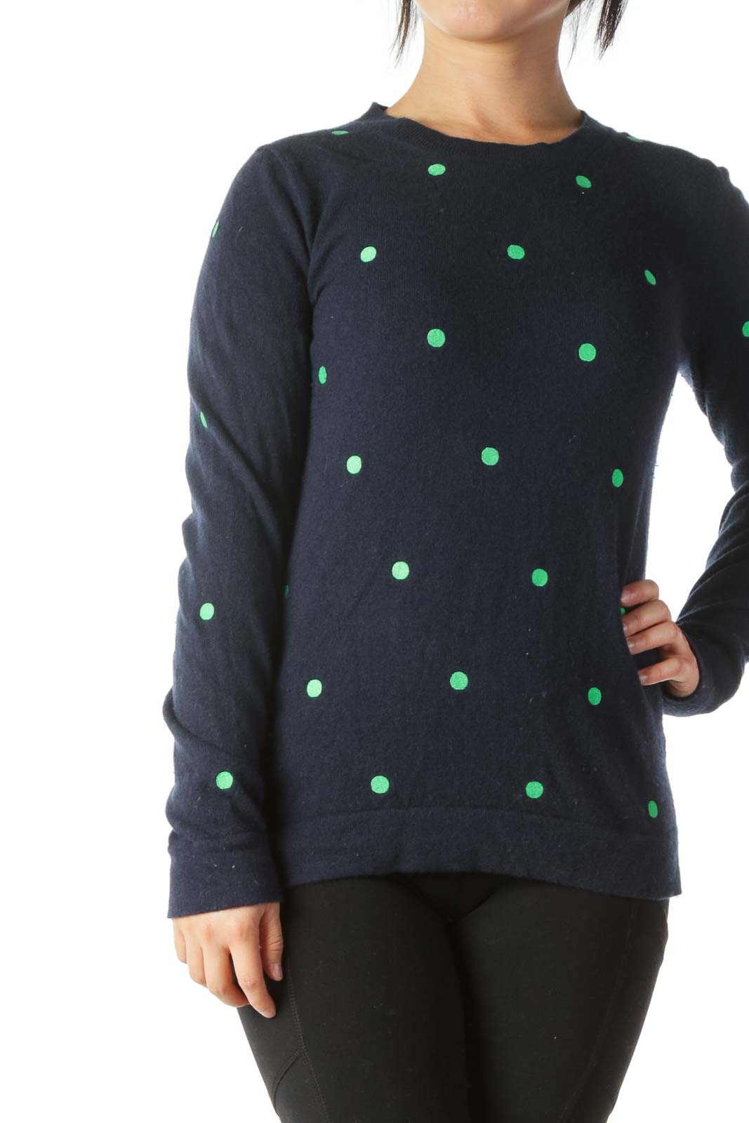 Navy Blue Green Sewn-Polka Dots Wool and Cotton Sweater