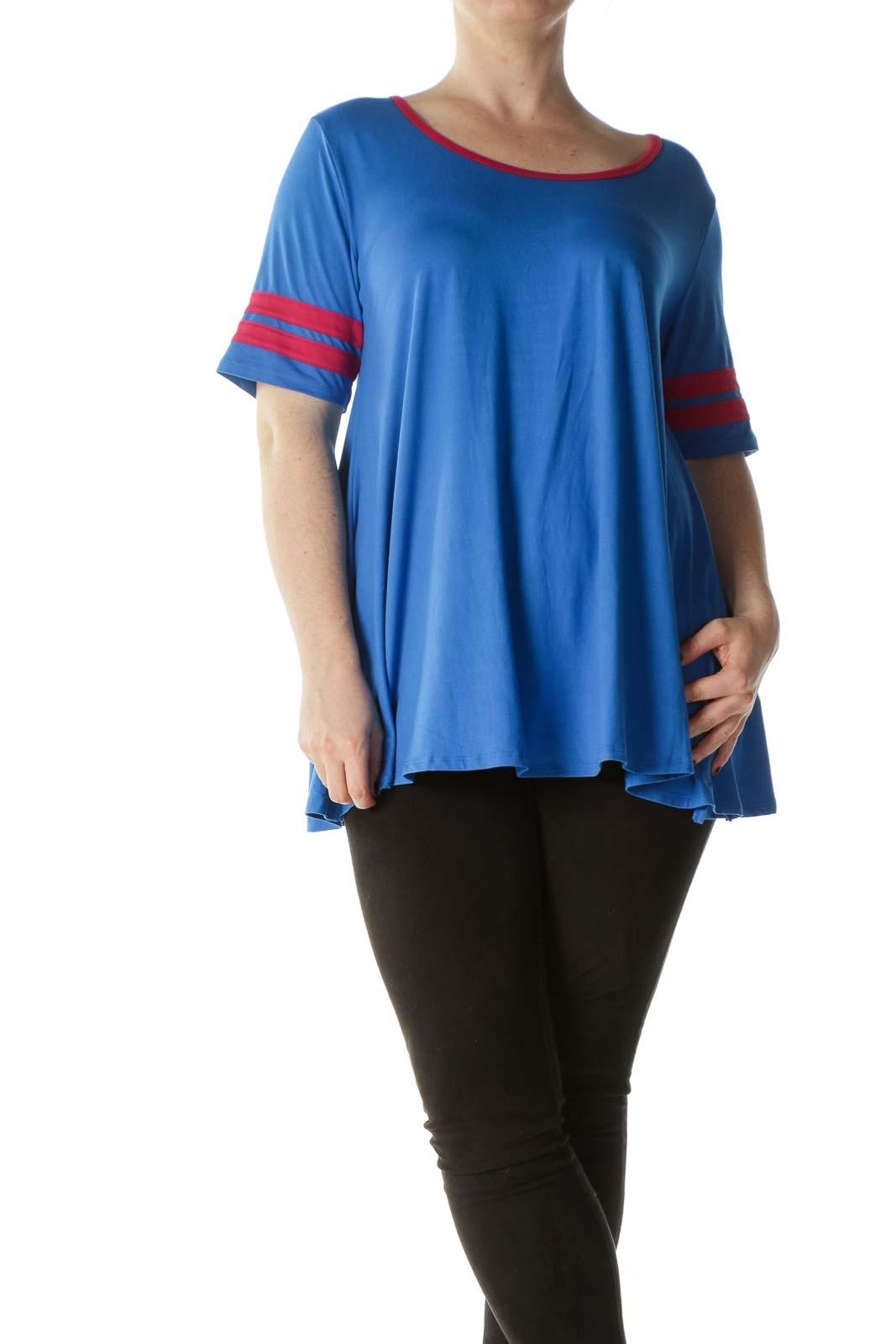 Blue Red-Details Soft Flared T-Shirt Dress