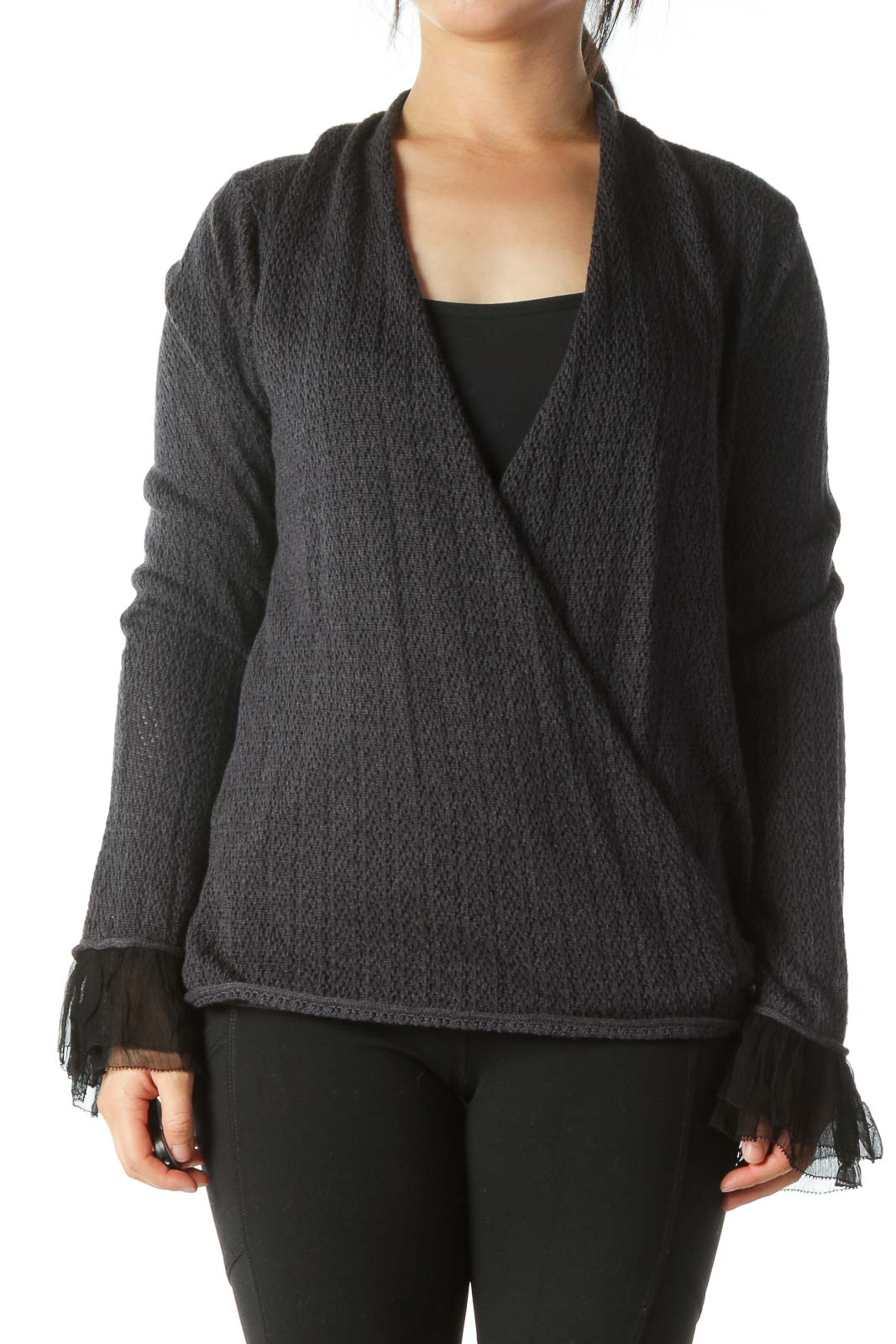 Gray Knitted Wrap Long Sleeve Top