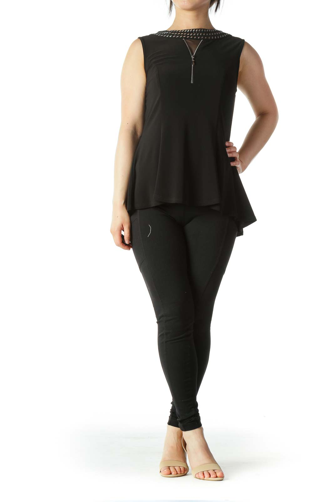 Black Studded and Zipper Detail Neckline A-Line Top