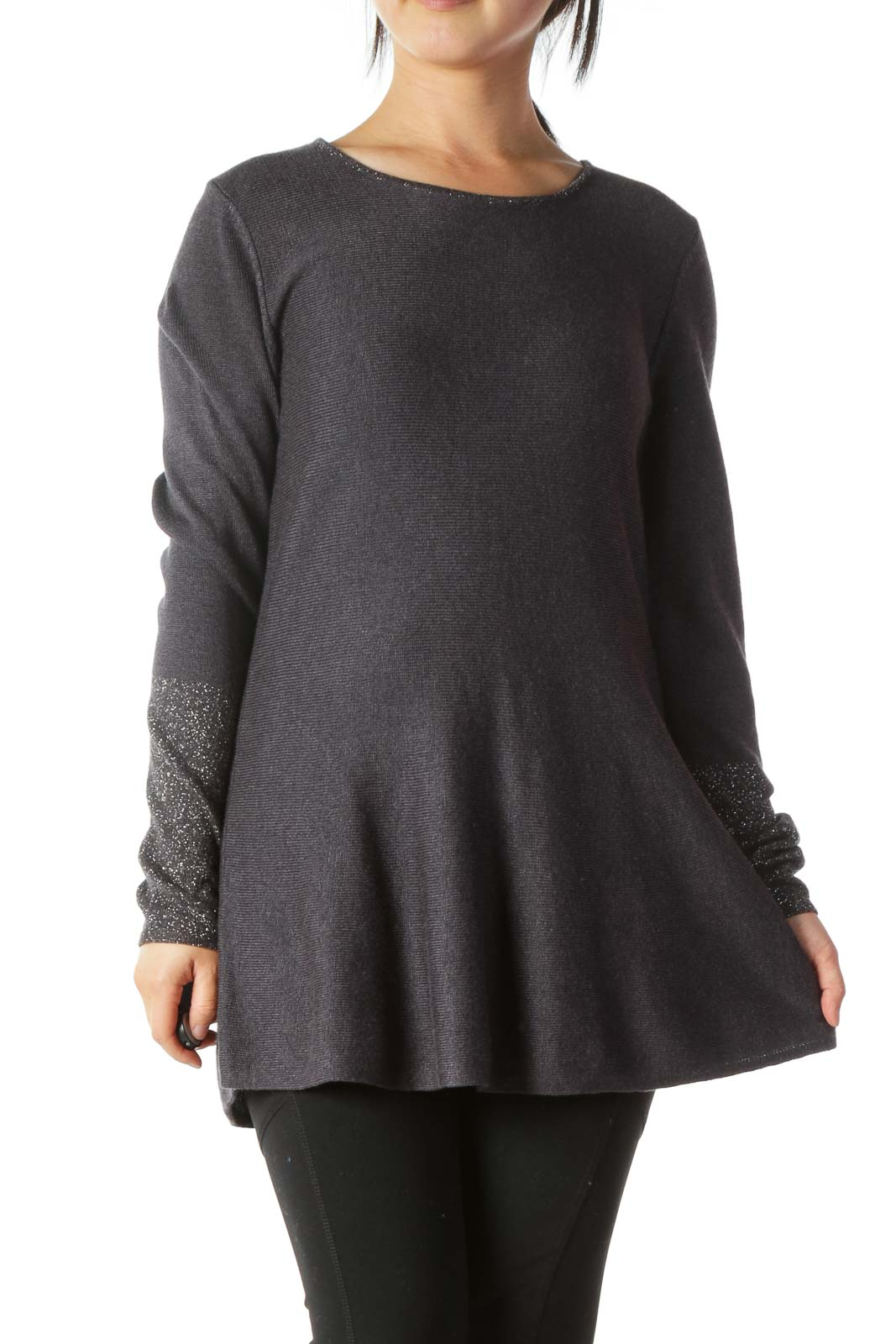 Gray Silver-Threading-Accents A-Line Knit Top