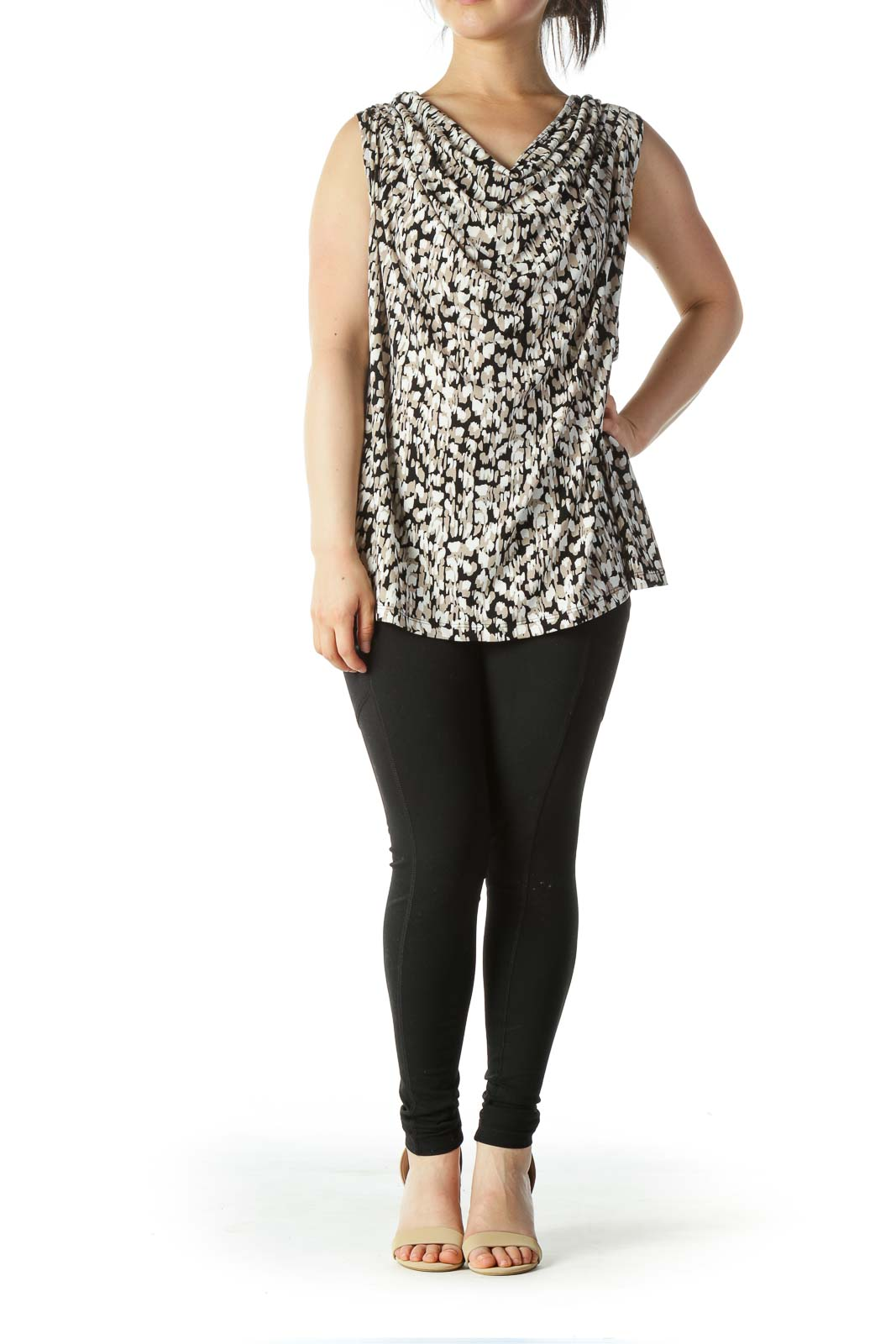 Black Beige White Print Stretch Jewel Neckline Tank