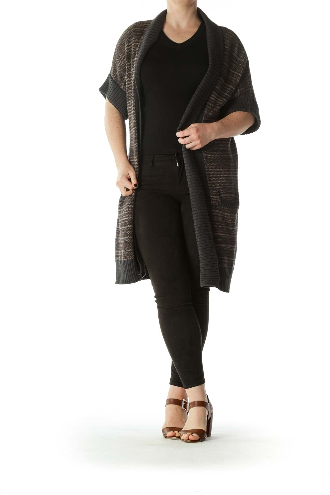 Blue Beige Brown 100% Cotton Knitted Short-Sleeve Cardigan