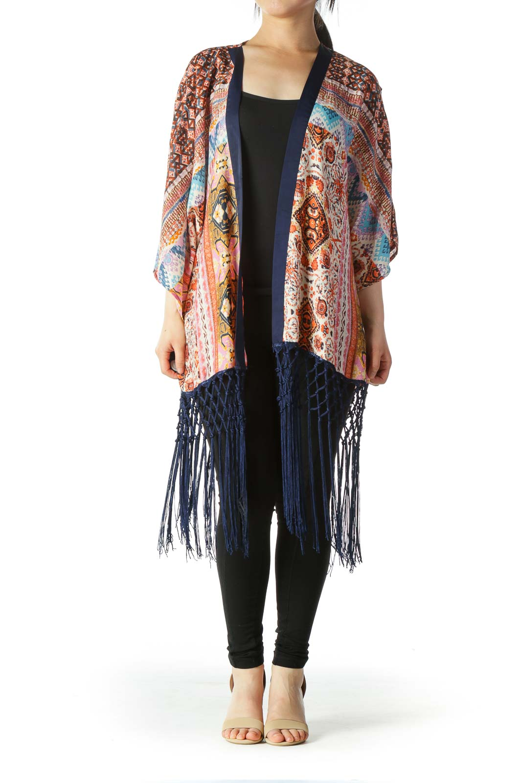 Multicolor Print Light-Weight Cardigan with Tassels
