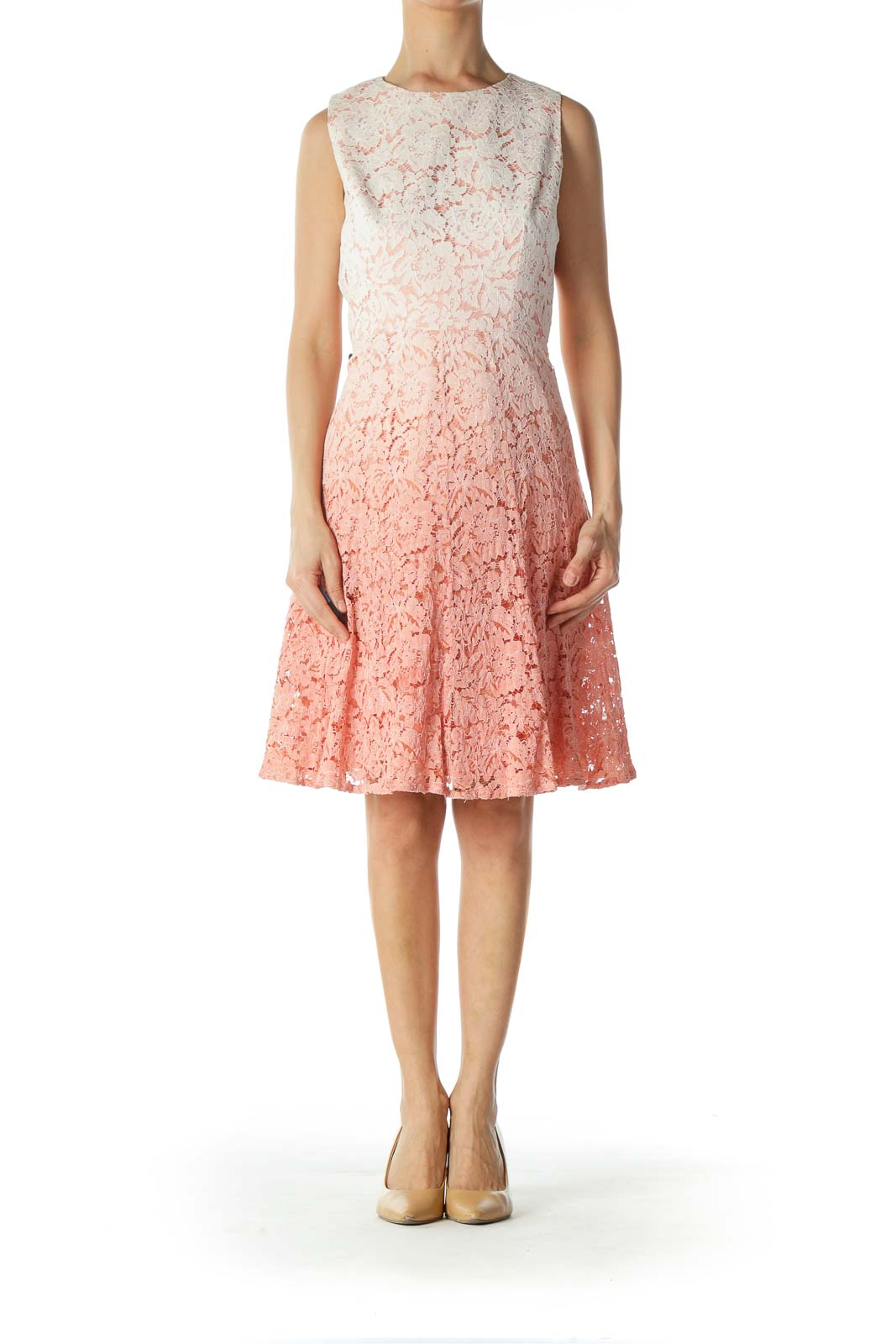 Pink and White Ombre Eyelet Dress