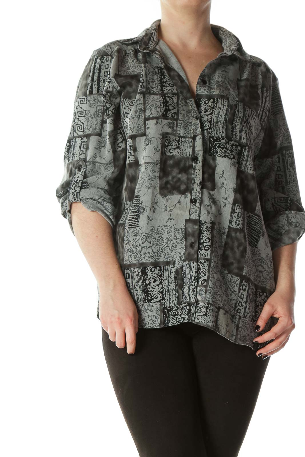 Black Gray Buttoned Printed Shirt