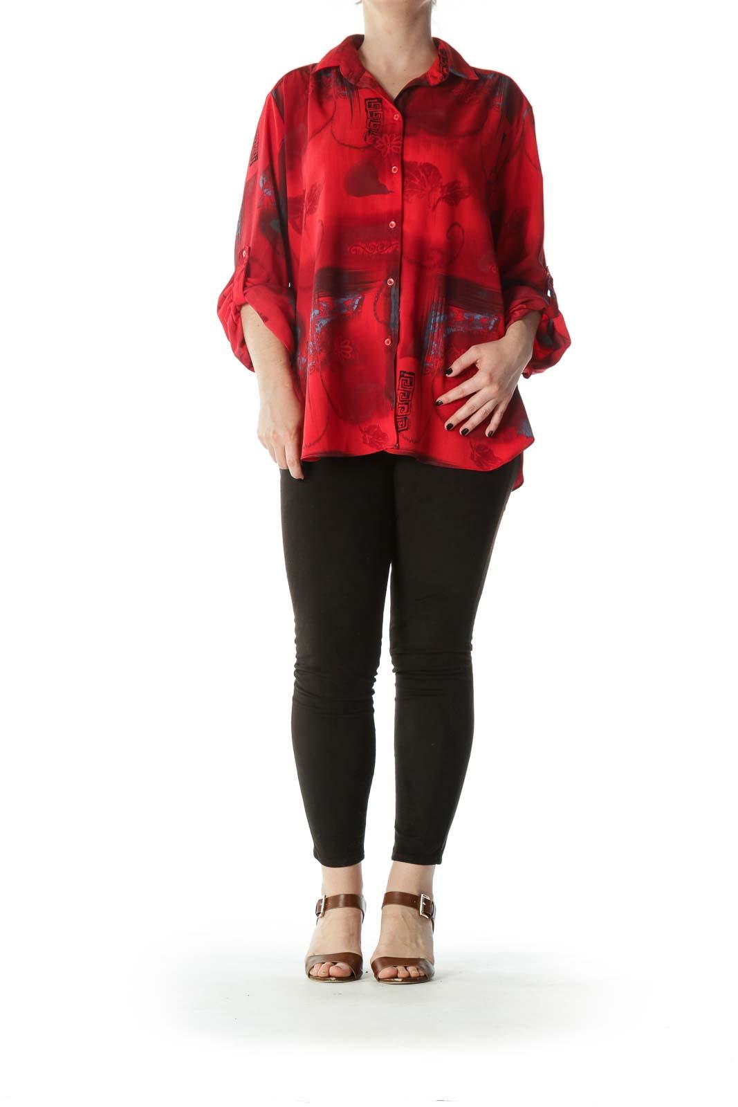 Red Black Blue Printed Light-Weight Shirt