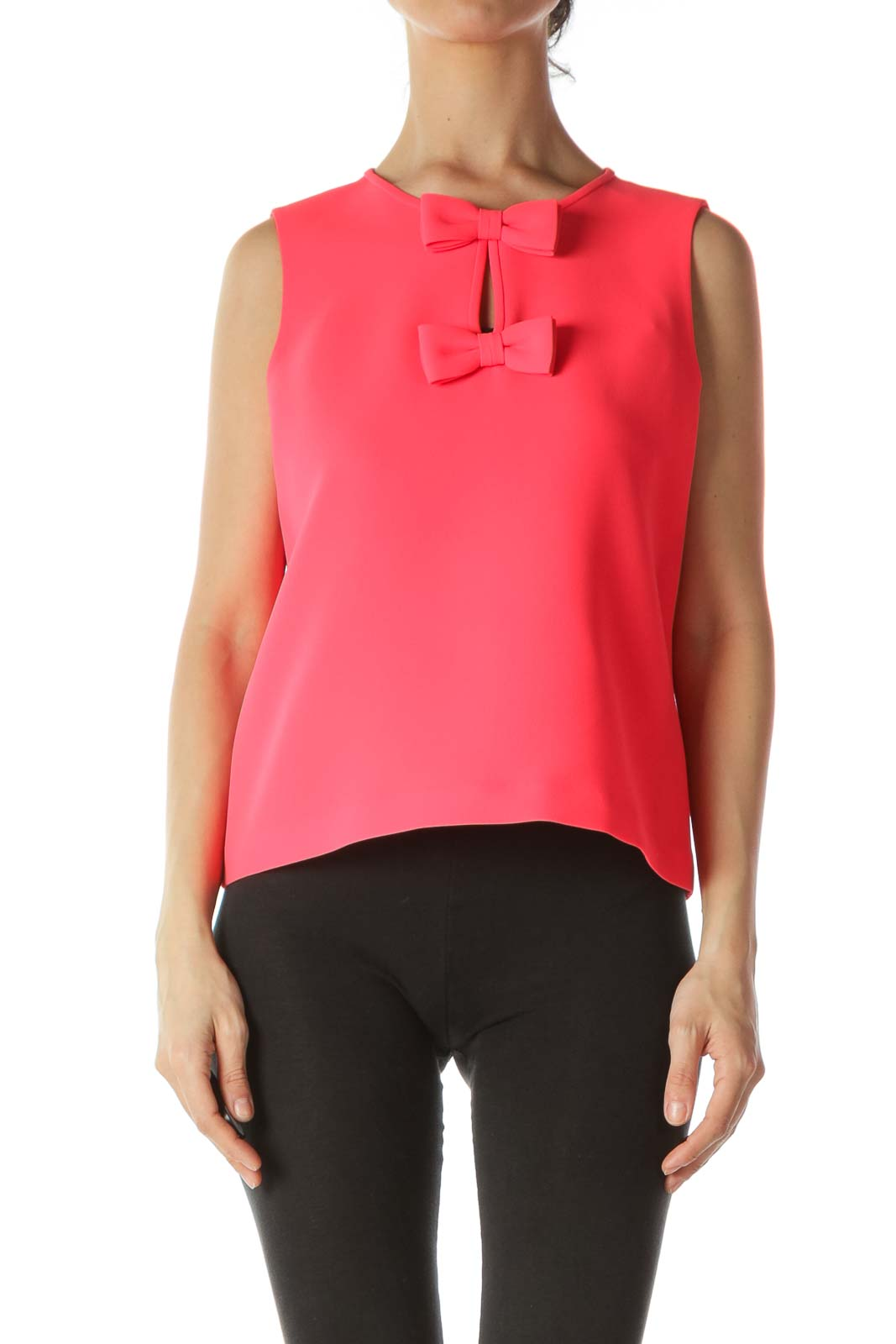 Neon Orange Designer Two-Bows Front Detail Top