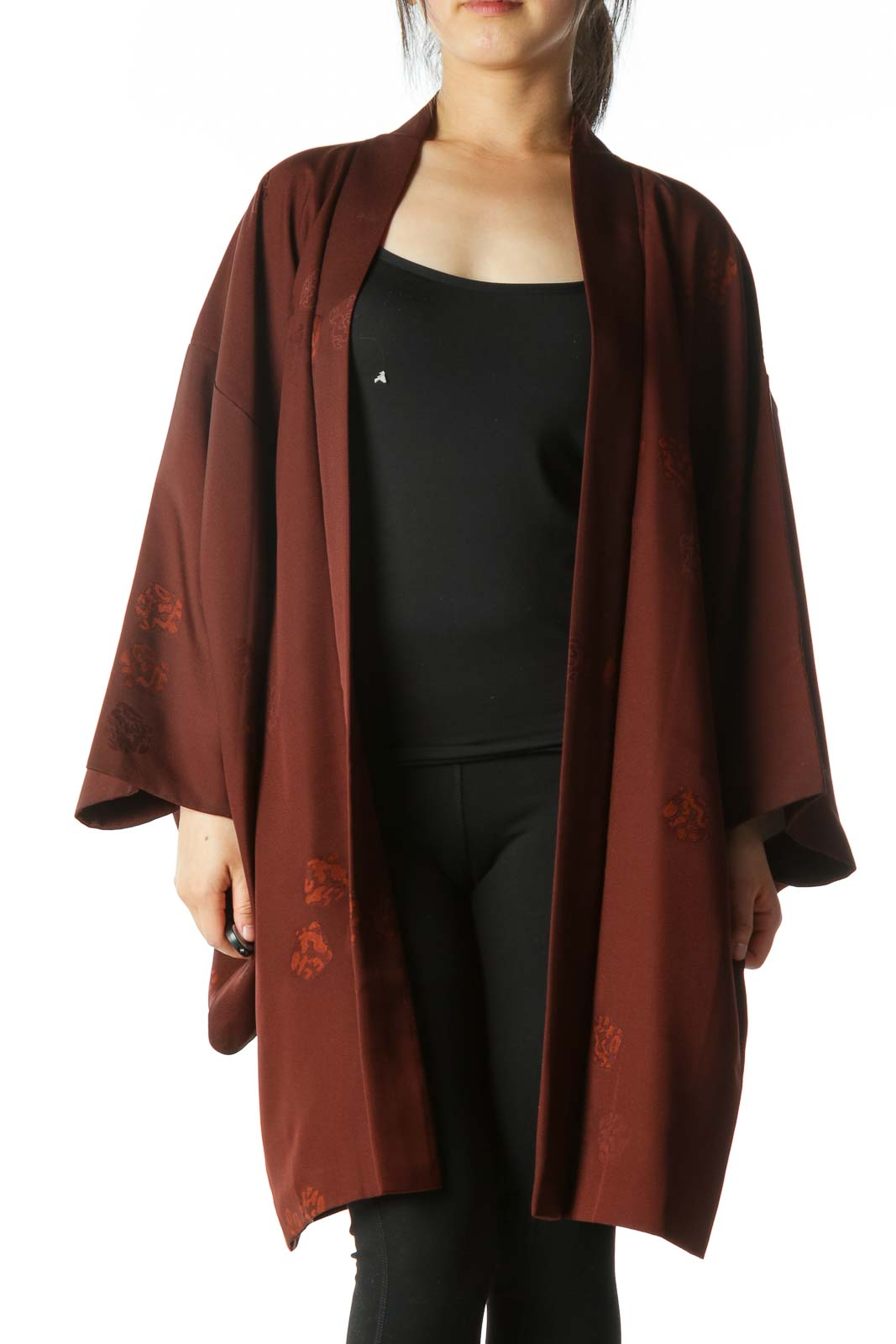 Brown Jacquard Arm-Opening Square-Sleeves Cape