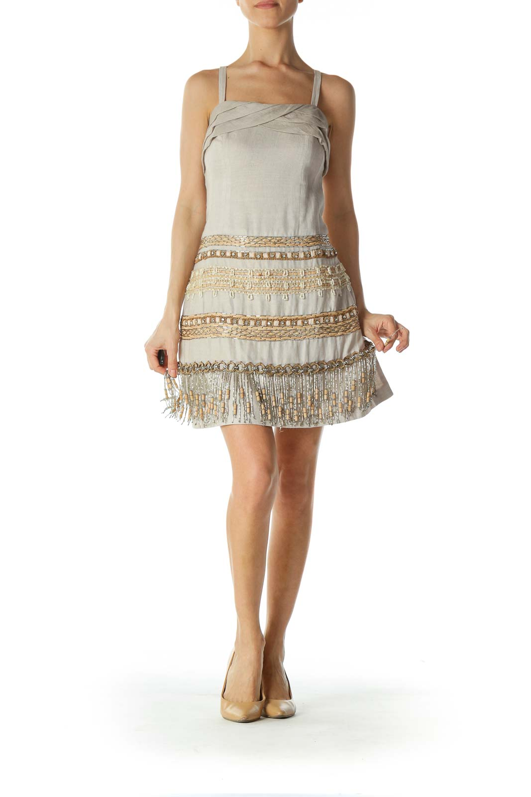 Beige Bejeweled and Tasseled Cocktail Dress