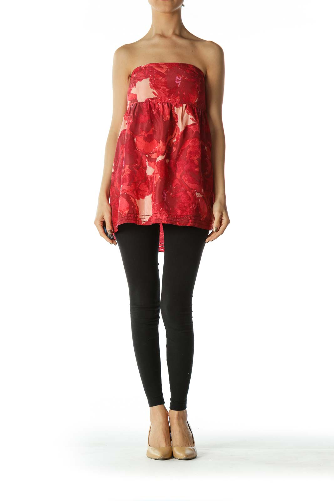 Red Pink Printed Empire-Waist Strapless Top