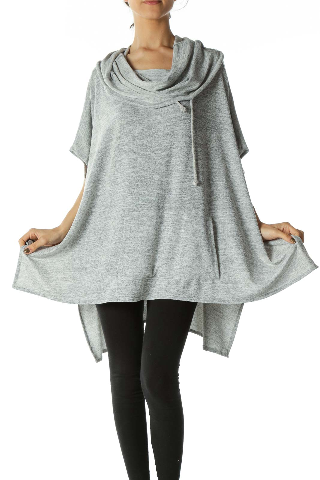 Gray Cow Neck Poncho