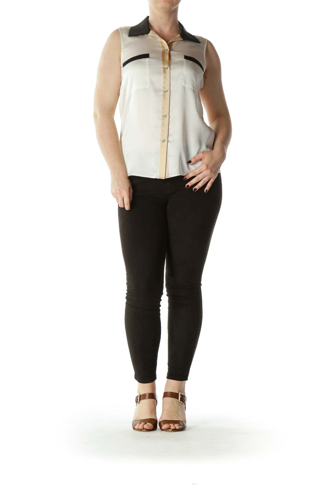 Cream Beige and Black Sleeveless Collared Button-Down