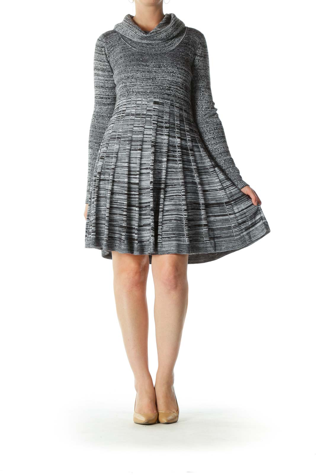 Black Gray Cowl-Neck A-Line Flared Knit Dress