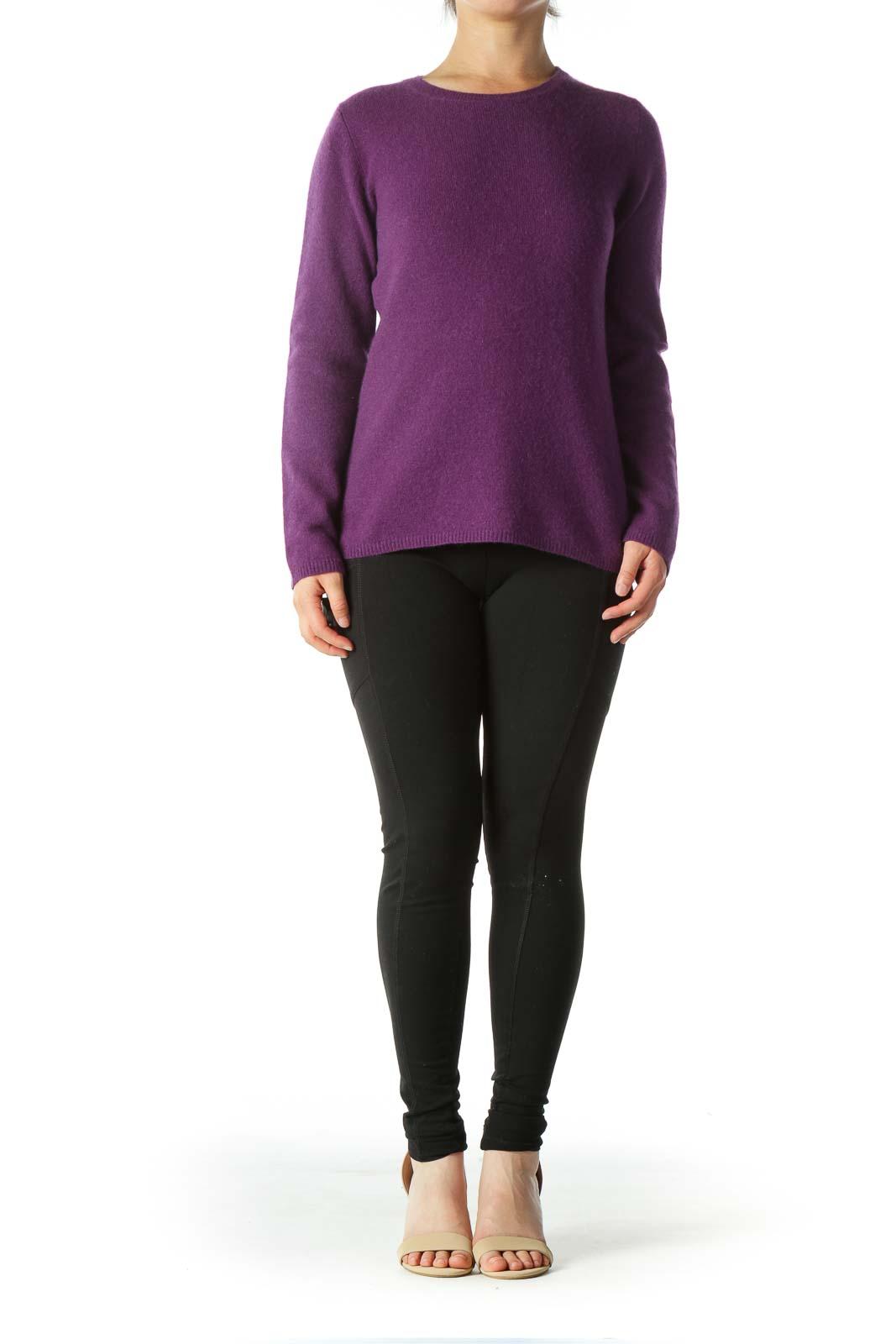 Purple Round-Neck Soft Textured Sweater