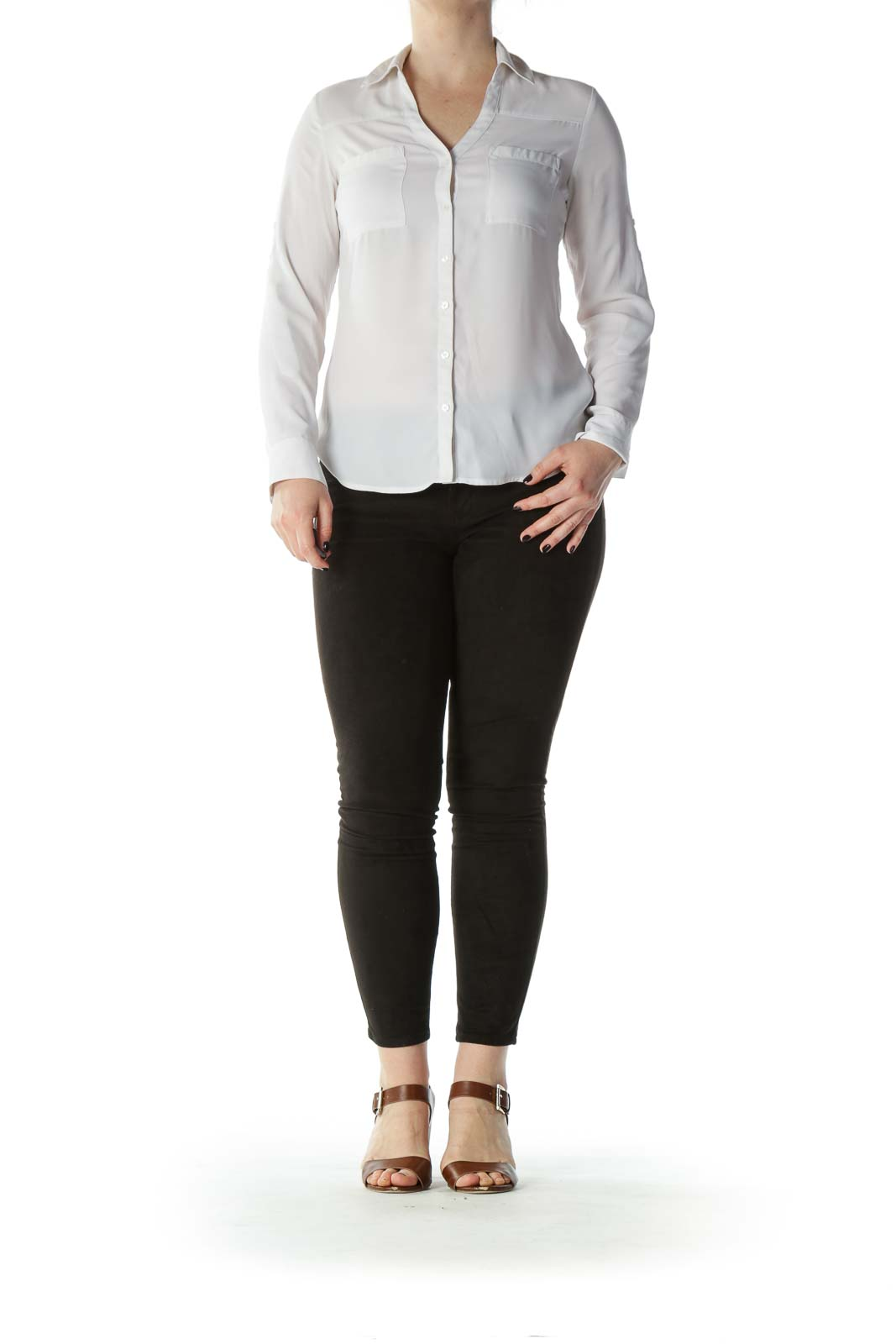 White Collared Translucent Button Down Blouse