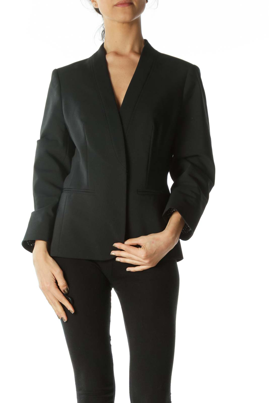 Black V-Neck Hook-Closure Stitching Detail Blazer