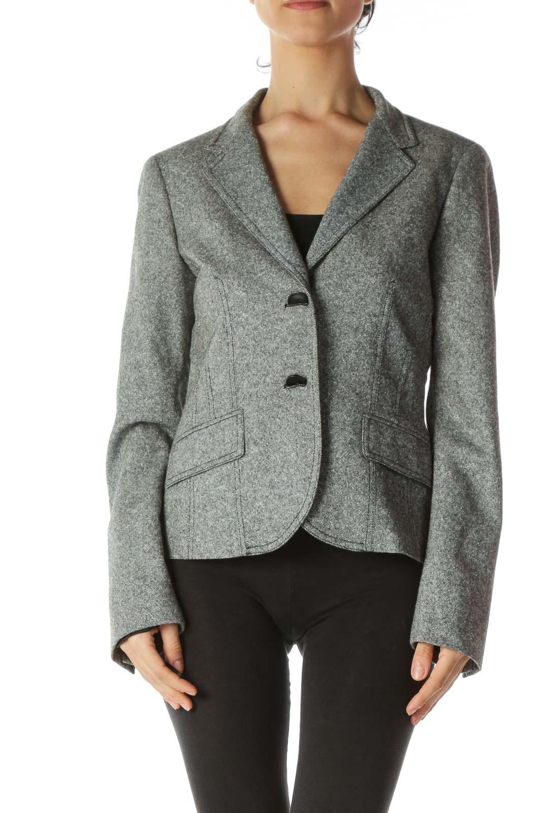 Black White Birdseye Knit Buttoned Blazer
