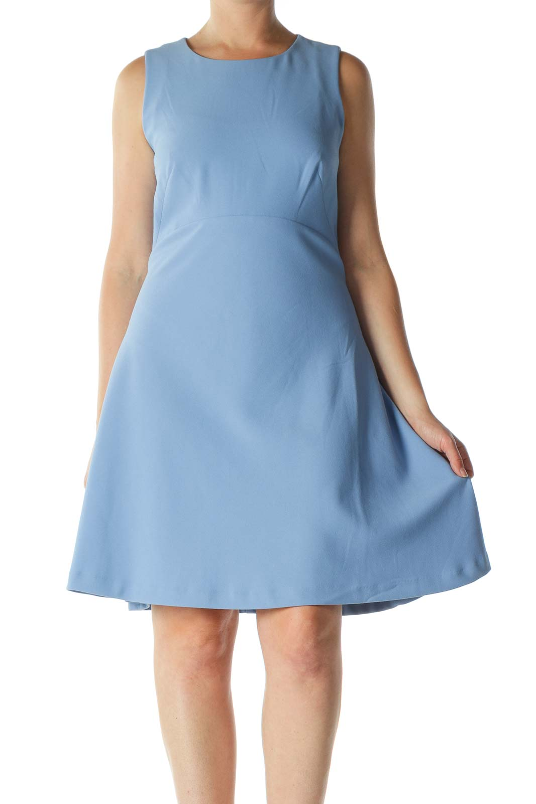 Blue Sleeveless Round-Neck Work A-Line Dress