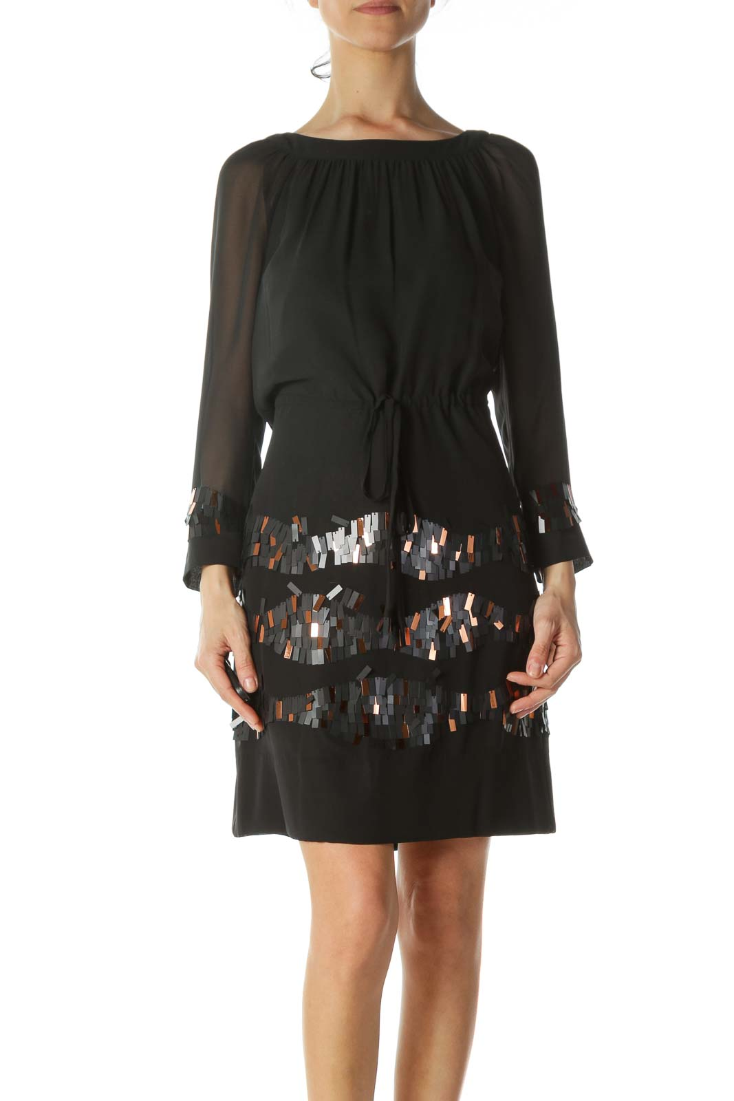Black Sequined-Accents Drawstring-Waist Dress