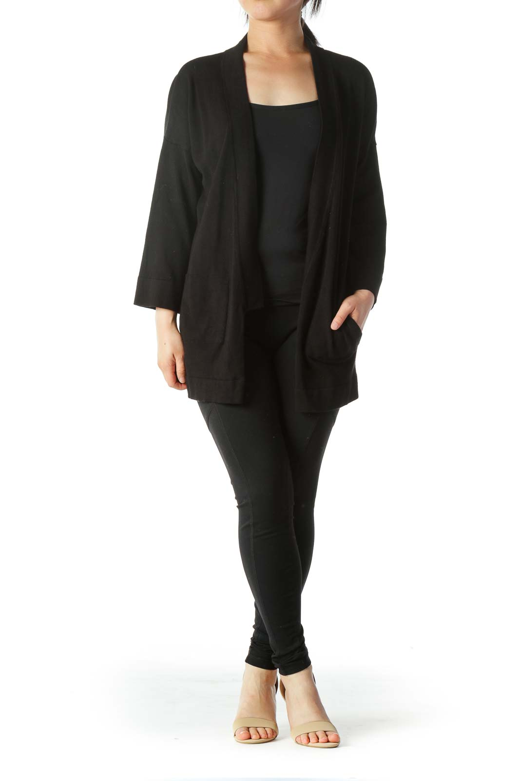 Black 3/4 Sleeve Pocketed Knit Cardigan