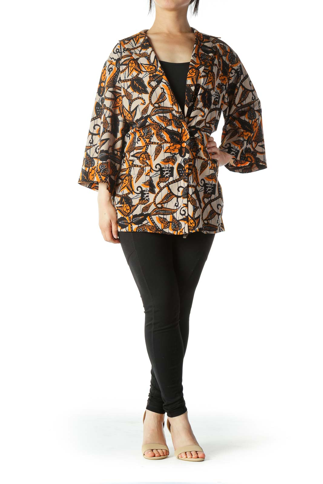 Multicolored Front-Snap-Button Wide-Sleeves Top