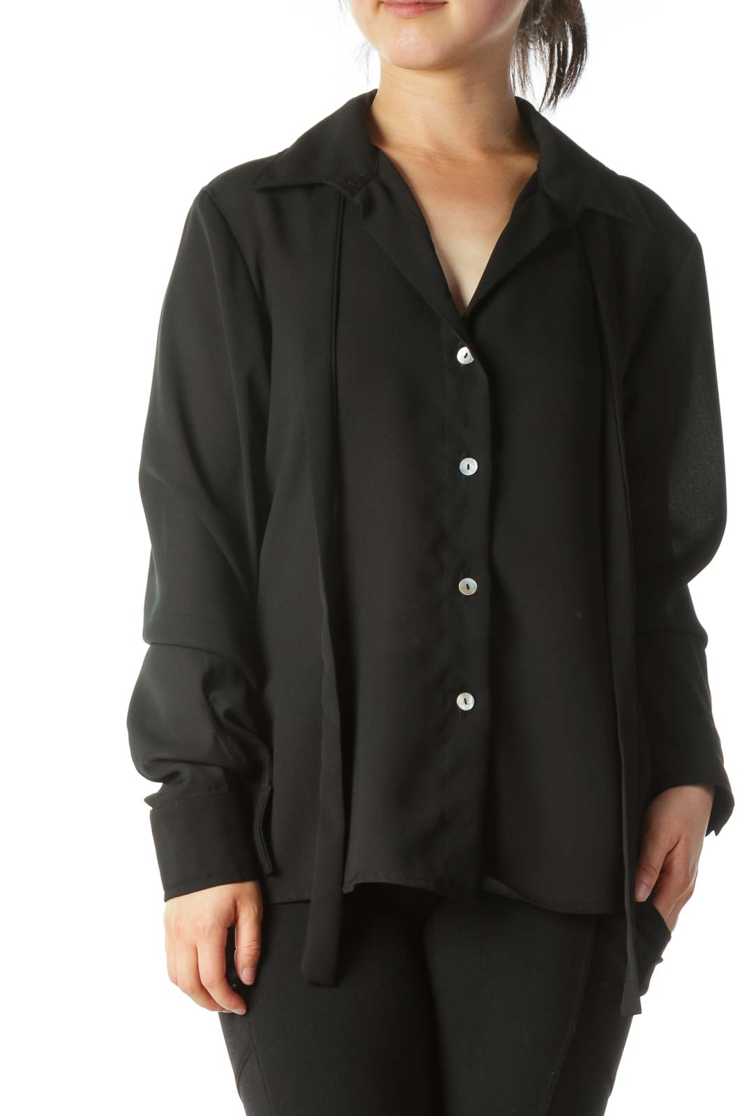 Black Buttoned Long-Sleeve Shirt