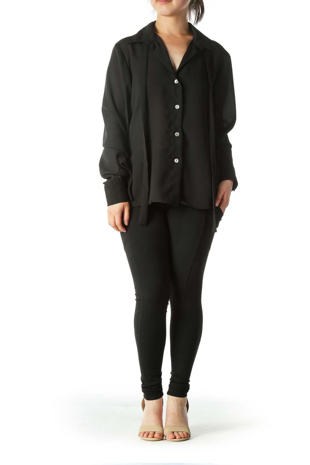 Black Buttoned Long-Sleeve Shirt