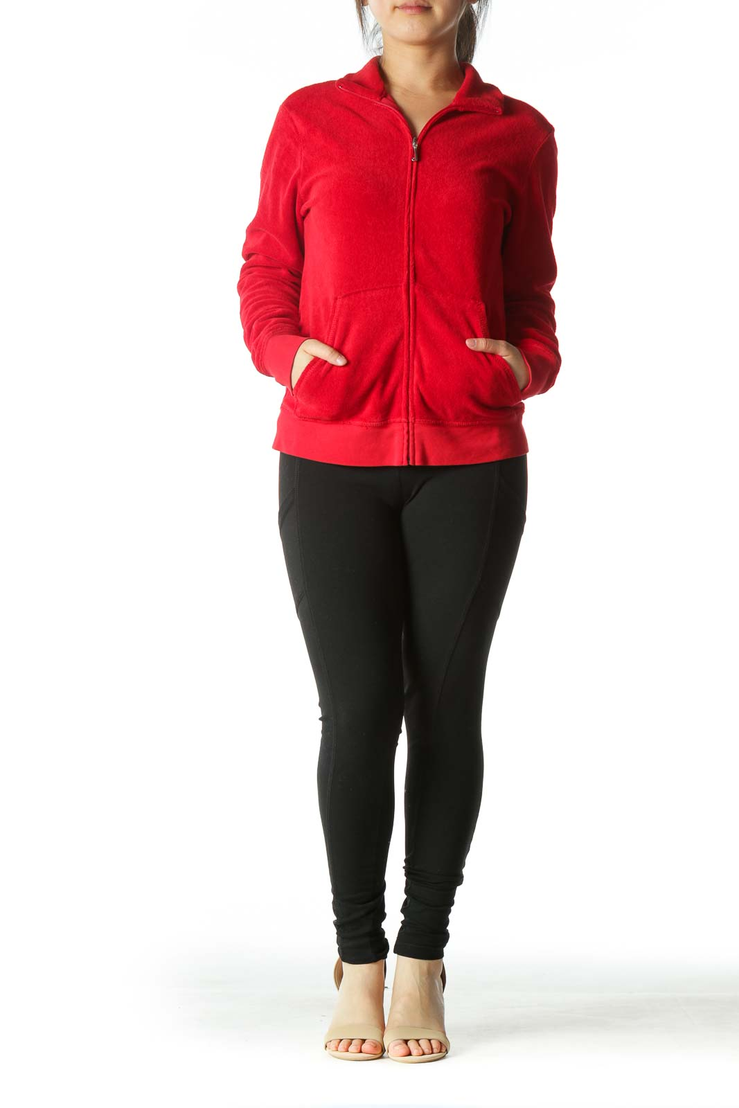 Red Zippered Pocketed High-Neck Fitted Jacket