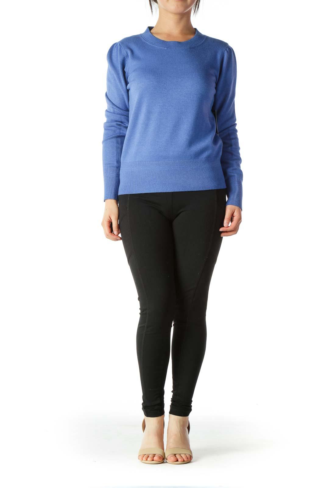 Blue Round-Neck Scrunched-Shoulder Detail Soft Sweater