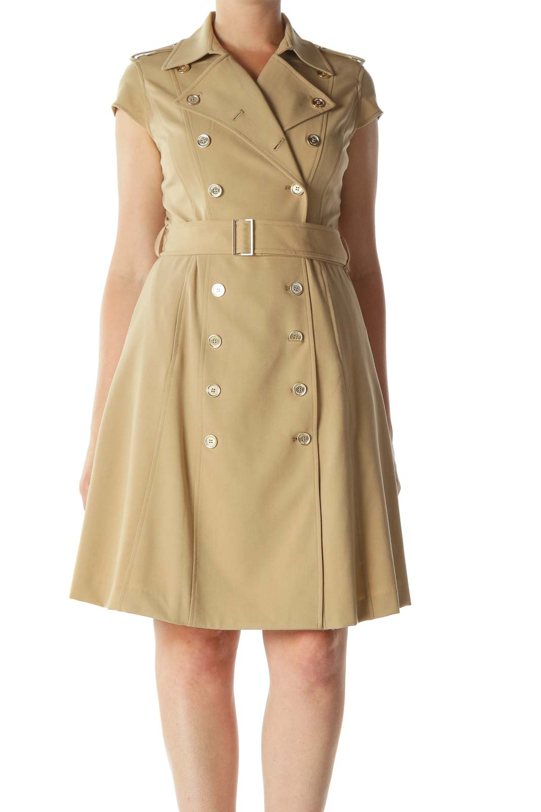 Beige Double-Breasted Buttoned Cap-Sleeves Dress