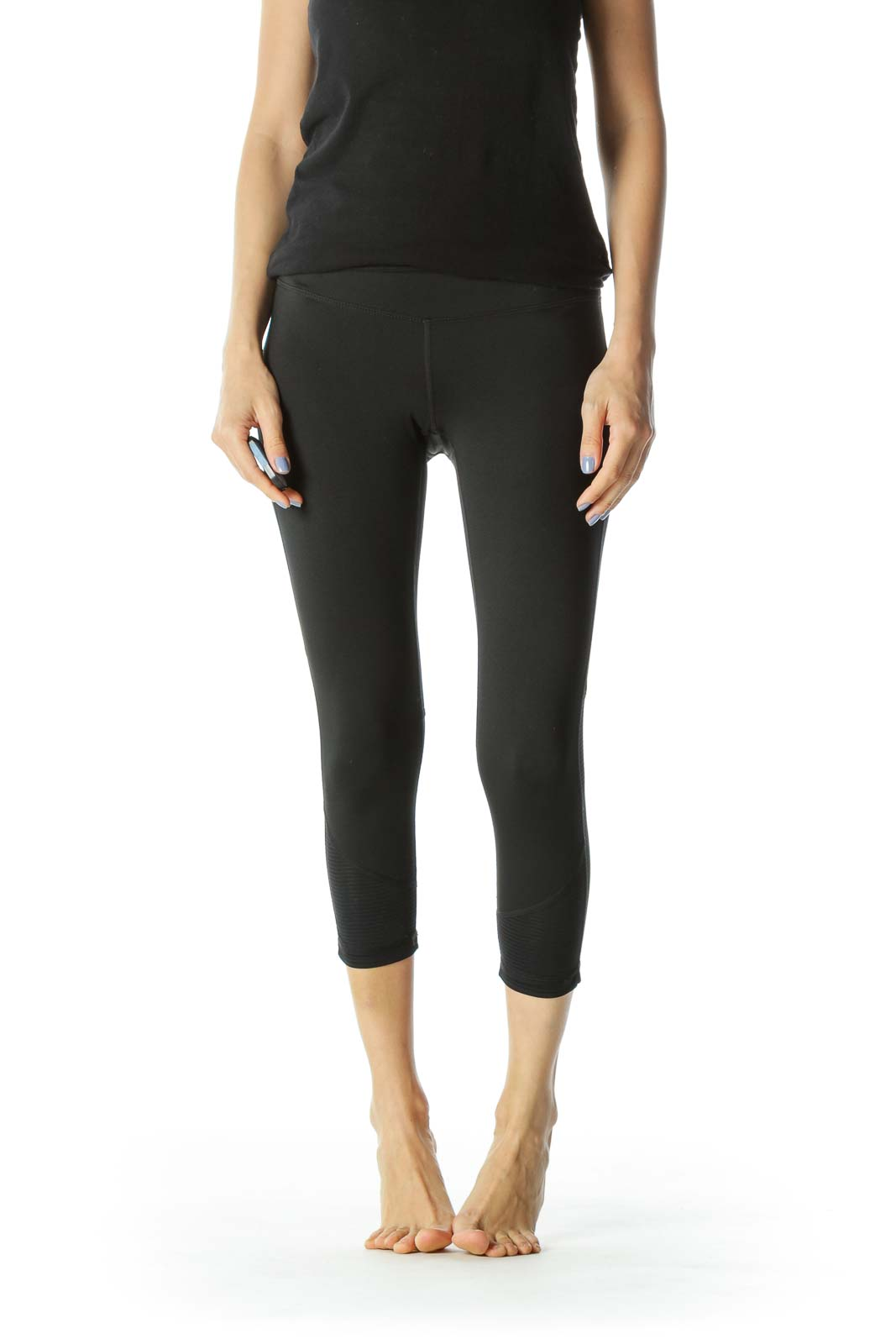 Black Stretch Sheer Leg Detail Activewear Leggings
