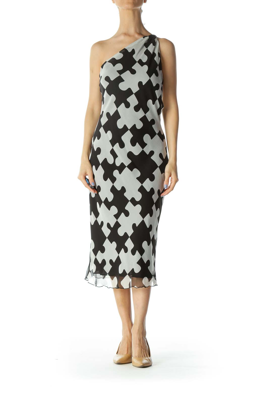Black/White 100% Silk Puzzle-Print Knot-Detail Light Dress