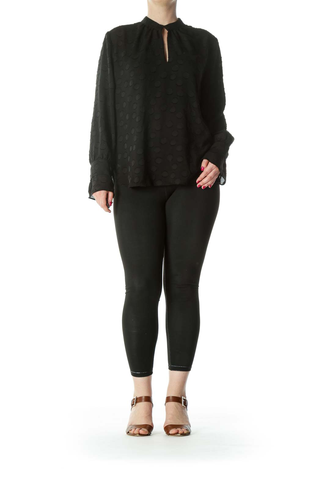 Black Keyhole Circles-Textured-Appliques High-Neck Long-Sleeve Blouse