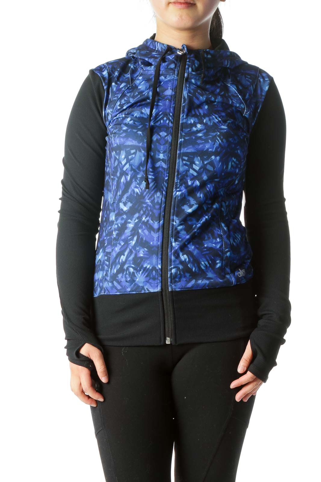 Blue Black Hooded Sport Jacket
