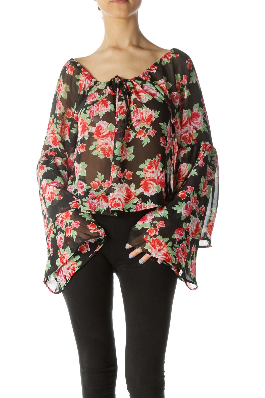 Multi Floral Oversized Cropped Ruffled Sleeves Top