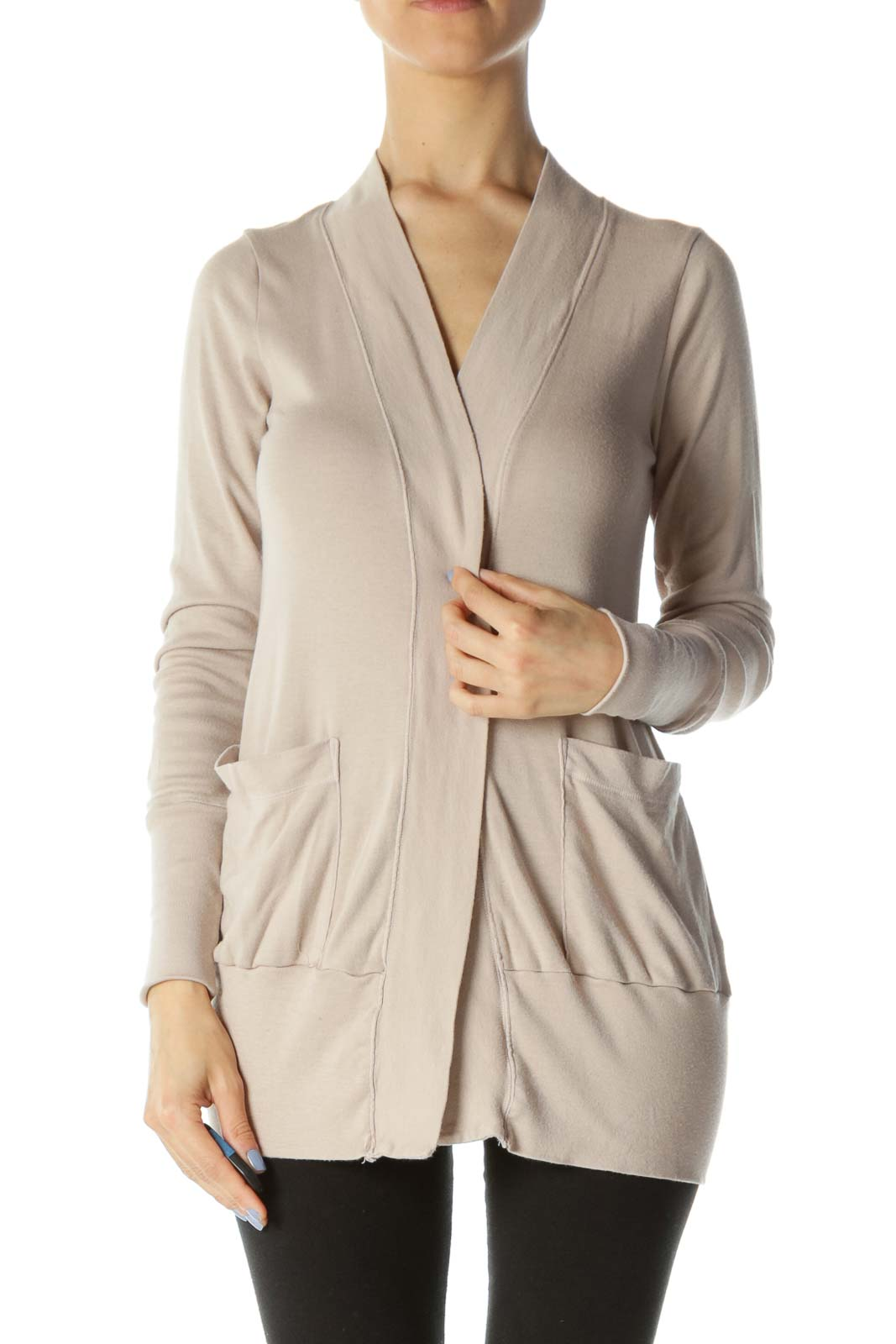 Beige Pocketed Long Sleeve Cardigan