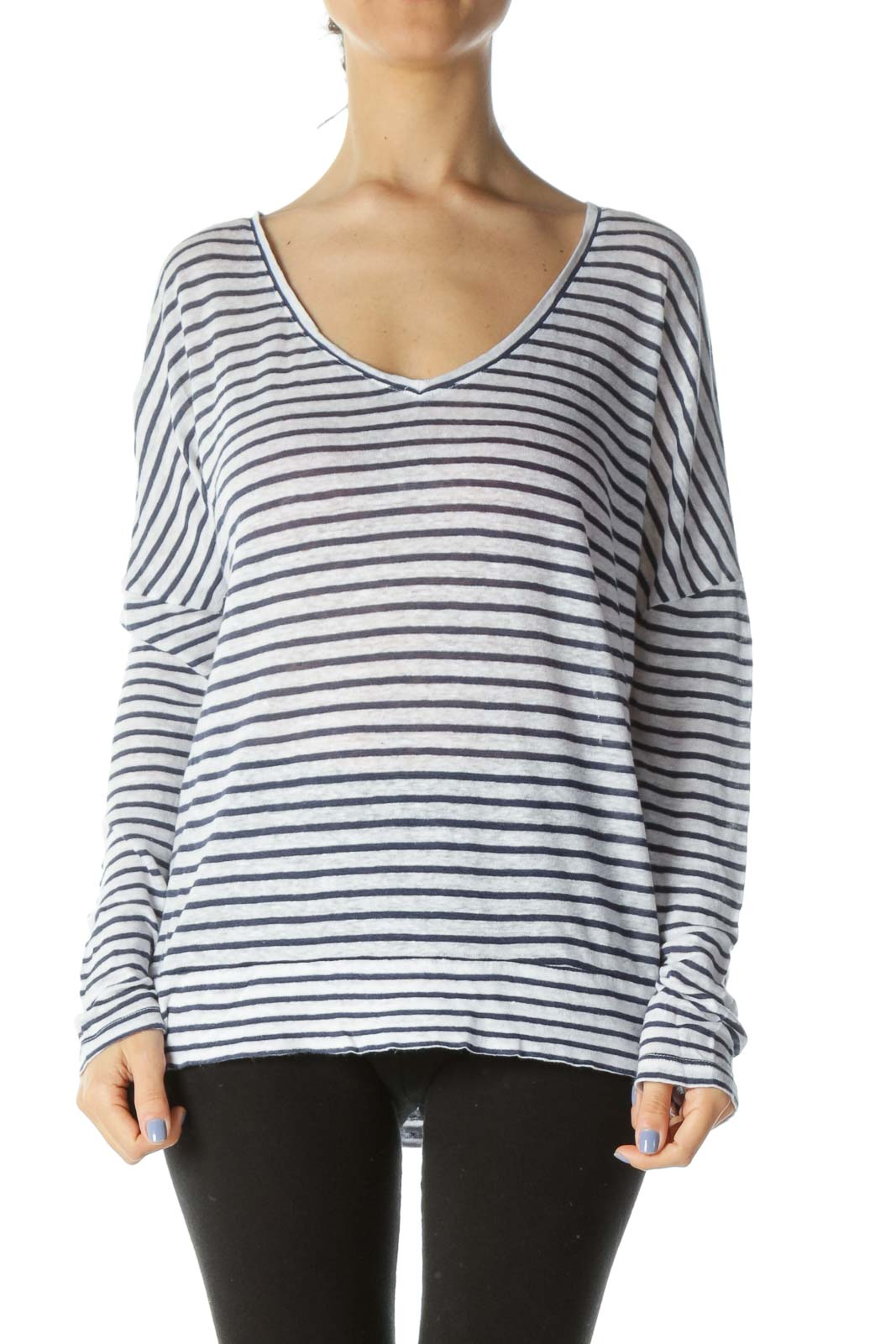 Blue/White 100% Linen V-Neck Striped Flared Knit Top