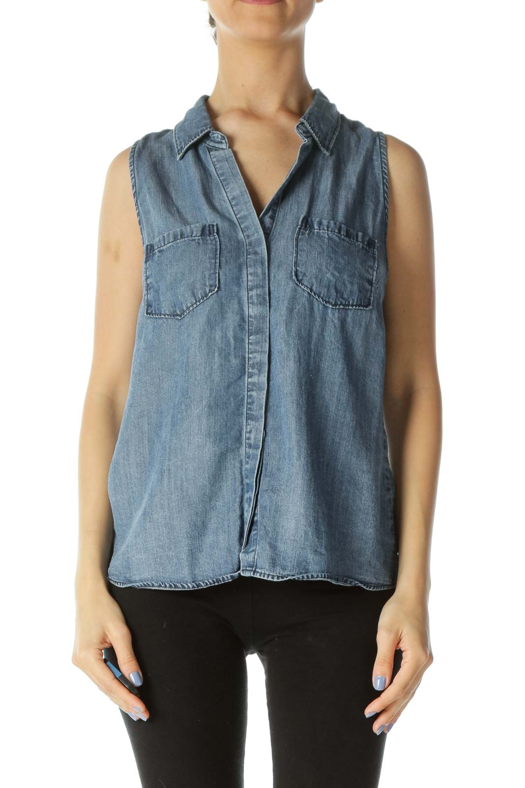 Blue Medium-Wash V-Neck Buttoned Tank Denim Top