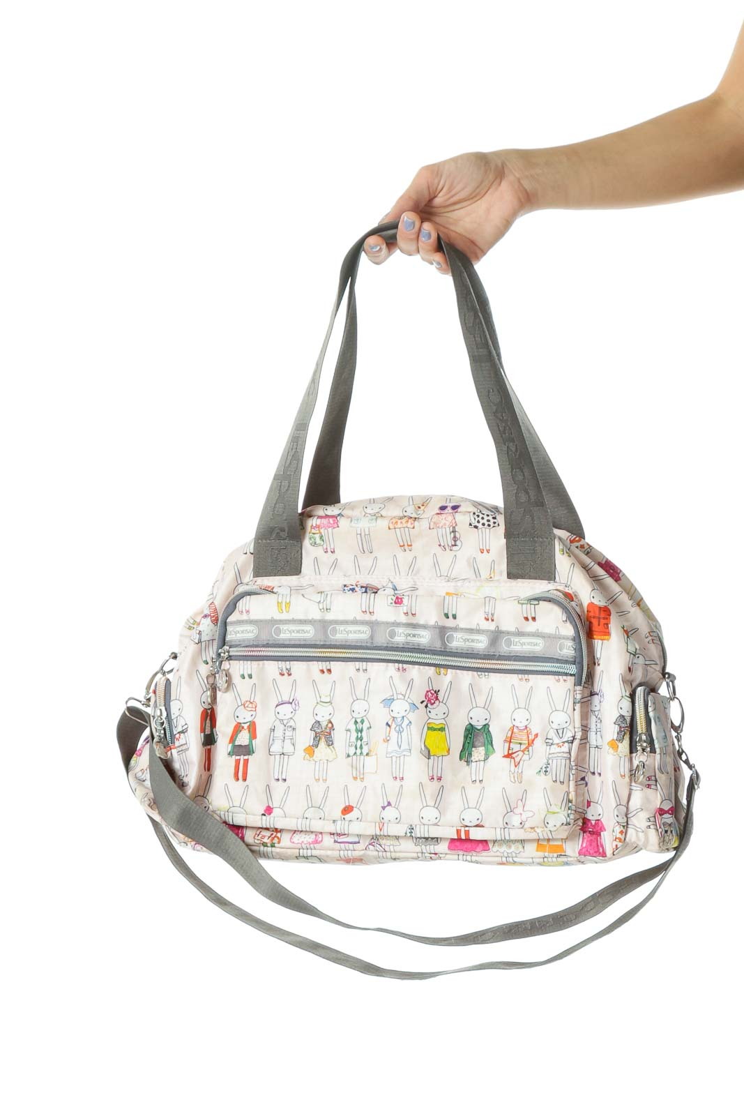 Multicolored Bunny Prints Zippered Pocketed Messenger Bag